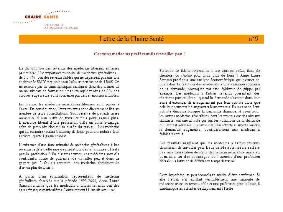 Lettre de la Chaire Santé n°9 La distribution des revenus des médecins libéraux est assez particulière.