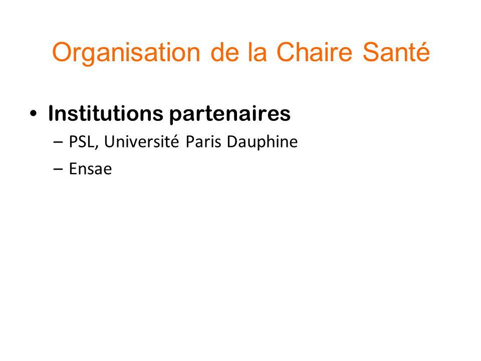 Organisation de la Chaire Santé Institutions partenaires –PSL, Université Paris Dauphine –Ensae