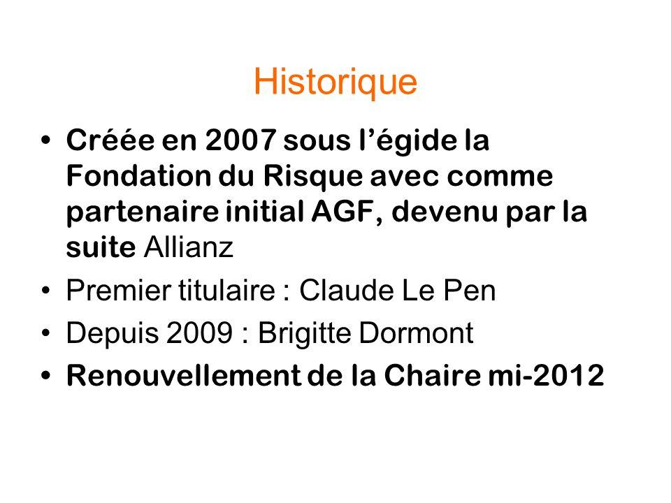 Historique Créée en 2007 sous l'égide la Fondation du Risque avec comme partenaire initial AGF, devenu par la suite Allianz Premier titulaire : Claude Le Pen Depuis 2009 : Brigitte Dormont Renouvellement de la Chaire mi-2012