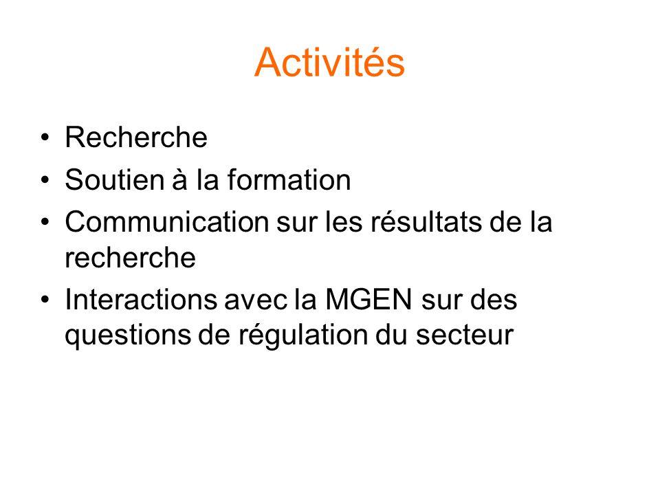 Activités Recherche Soutien à la formation Communication sur les résultats de la recherche Interactions avec la MGEN sur des questions de régulation du secteur