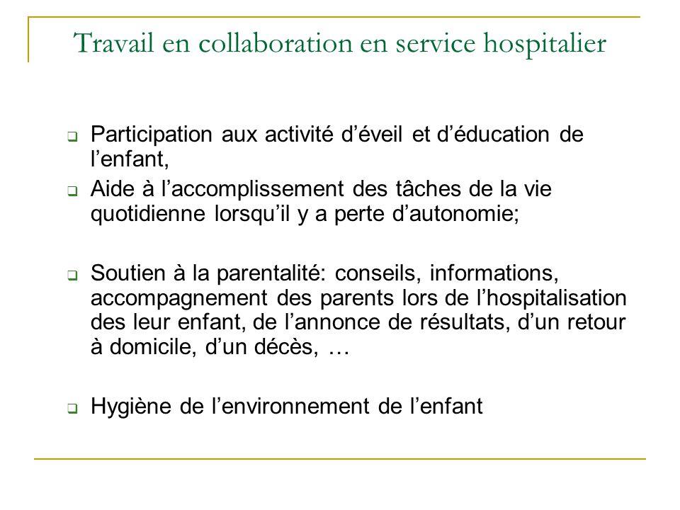 Travail en collaboration en service hospitalier  Participation aux activité d'éveil et d'éducation de l'enfant,  Aide à l'accomplissement des tâches