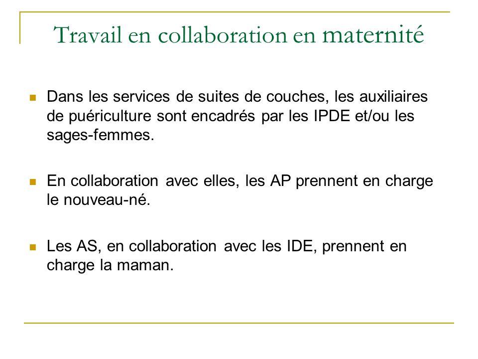 Travail en collaboration en maternité Dans les services de suites de couches, les auxiliaires de puériculture sont encadrés par les IPDE et/ou les sag
