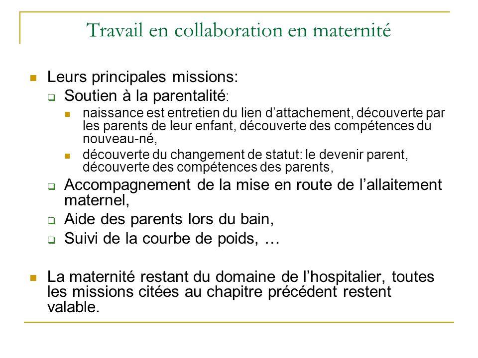 Travail en collaboration en maternité Leurs principales missions:  Soutien à la parentalité : naissance est entretien du lien d'attachement, découver