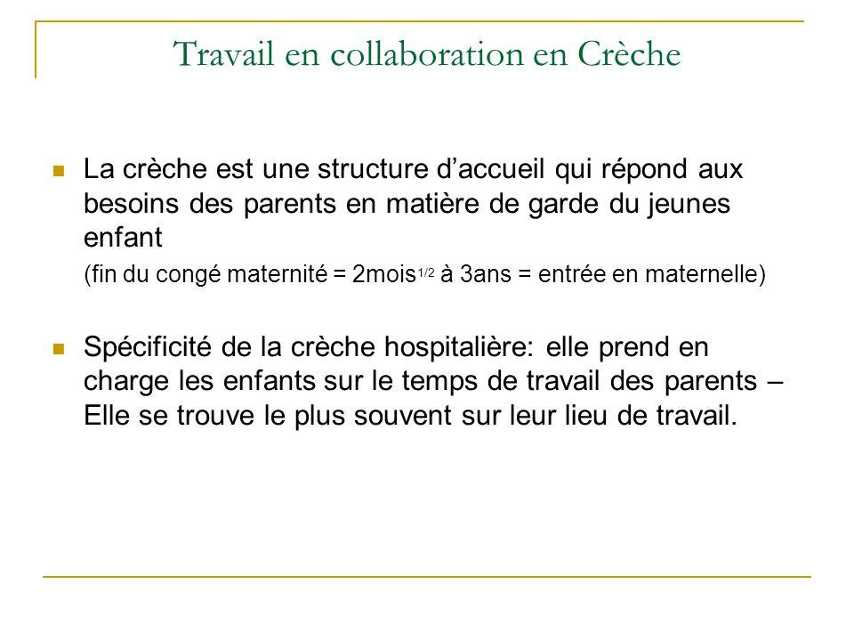 Travail en collaboration en Crèche La crèche est une structure d'accueil qui répond aux besoins des parents en matière de garde du jeunes enfant (fin