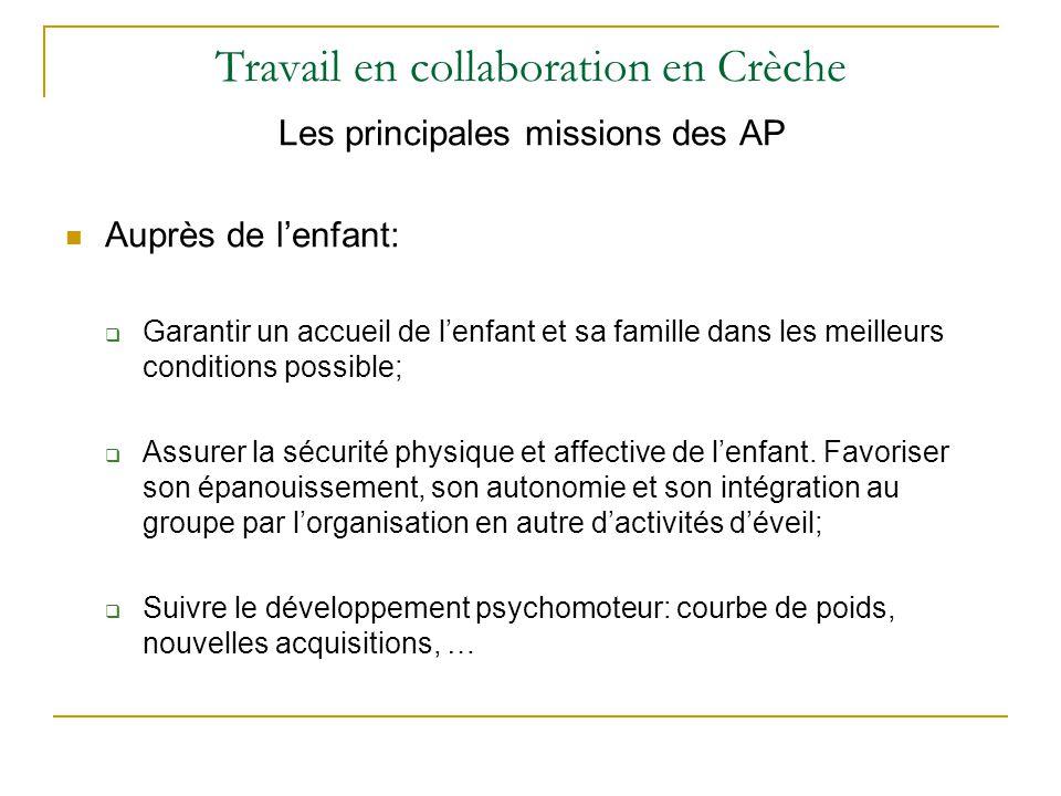 Travail en collaboration en Crèche Les principales missions des AP Auprès de l'enfant:  Garantir un accueil de l'enfant et sa famille dans les meille
