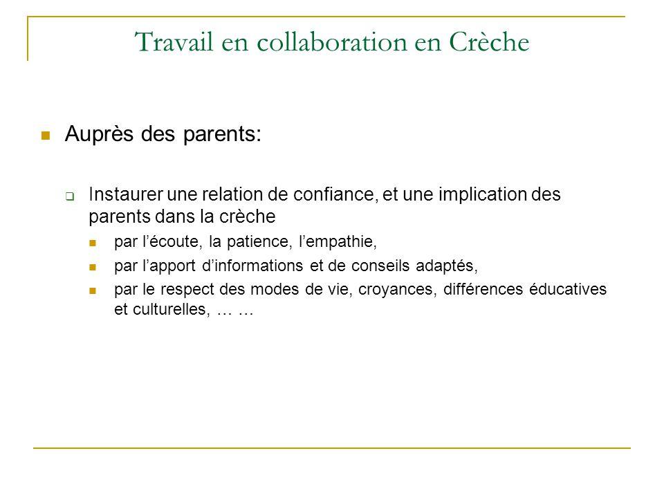 Travail en collaboration en Crèche Auprès des parents:  Instaurer une relation de confiance, et une implication des parents dans la crèche par l'écou