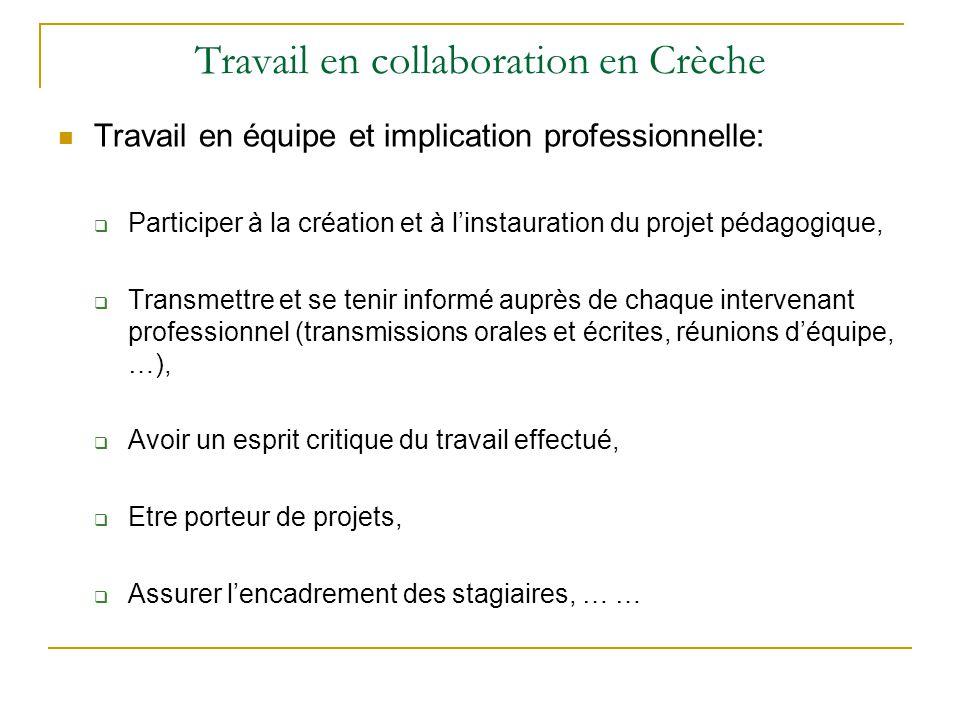 Travail en collaboration en Crèche Travail en équipe et implication professionnelle:  Participer à la création et à l'instauration du projet pédagogi