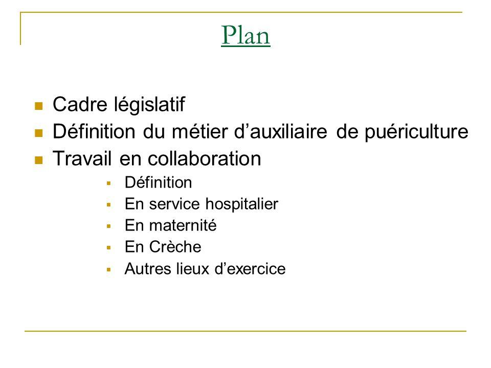Plan Cadre législatif Définition du métier d'auxiliaire de puériculture Travail en collaboration  Définition  En service hospitalier  En maternité