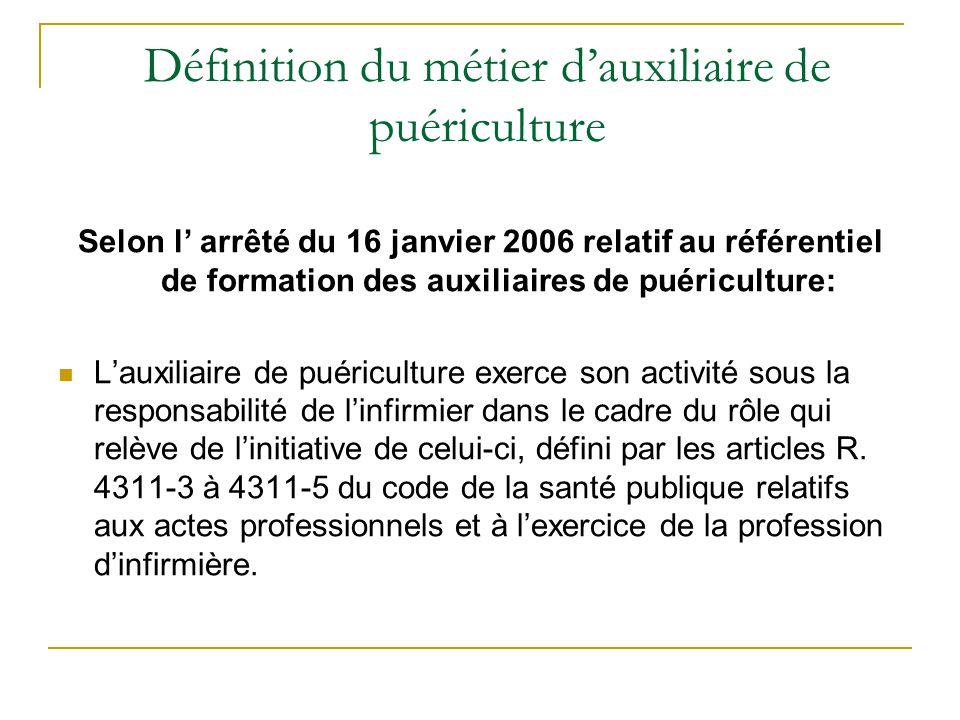 Définition du métier d'auxiliaire de puériculture Selon l' arrêté du 16 janvier 2006 relatif au référentiel de formation des auxiliaires de puéricultu