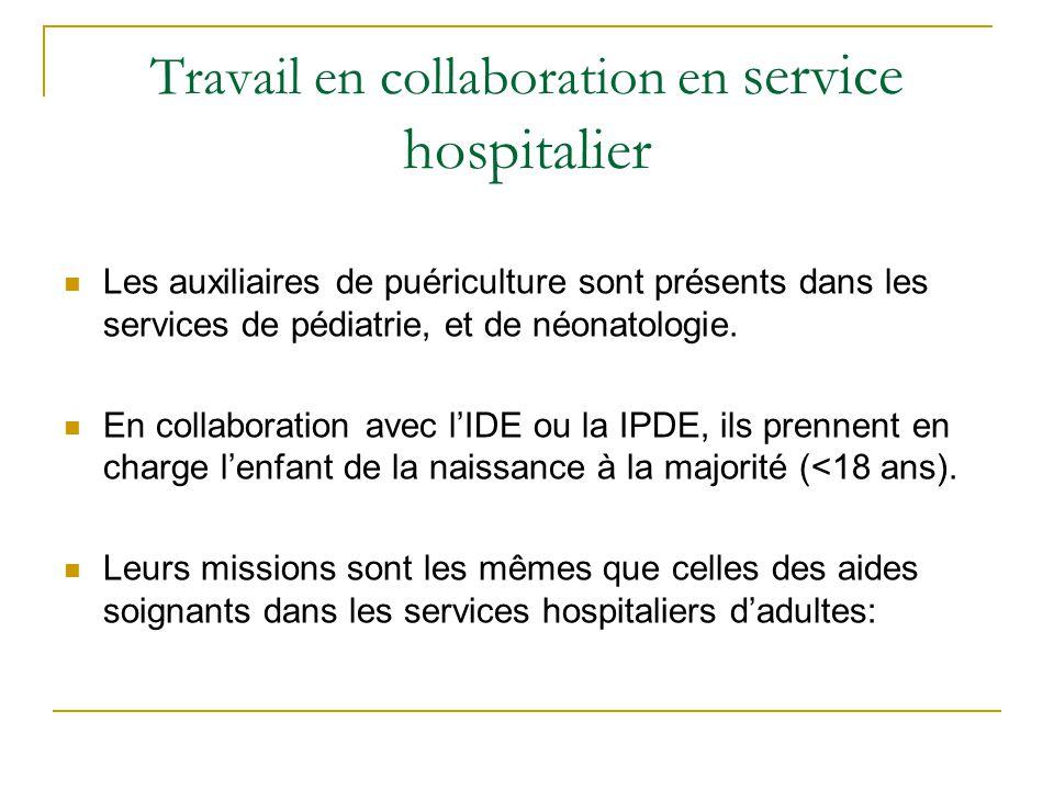 Travail en collaboration en service hospitalier Les auxiliaires de puériculture sont présents dans les services de pédiatrie, et de néonatologie. En c