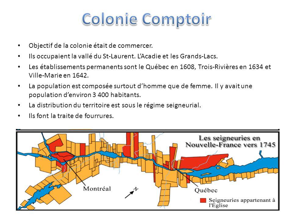 Objectif de la colonie était de commercer. Ils occupaient la vallé du St-Laurent.