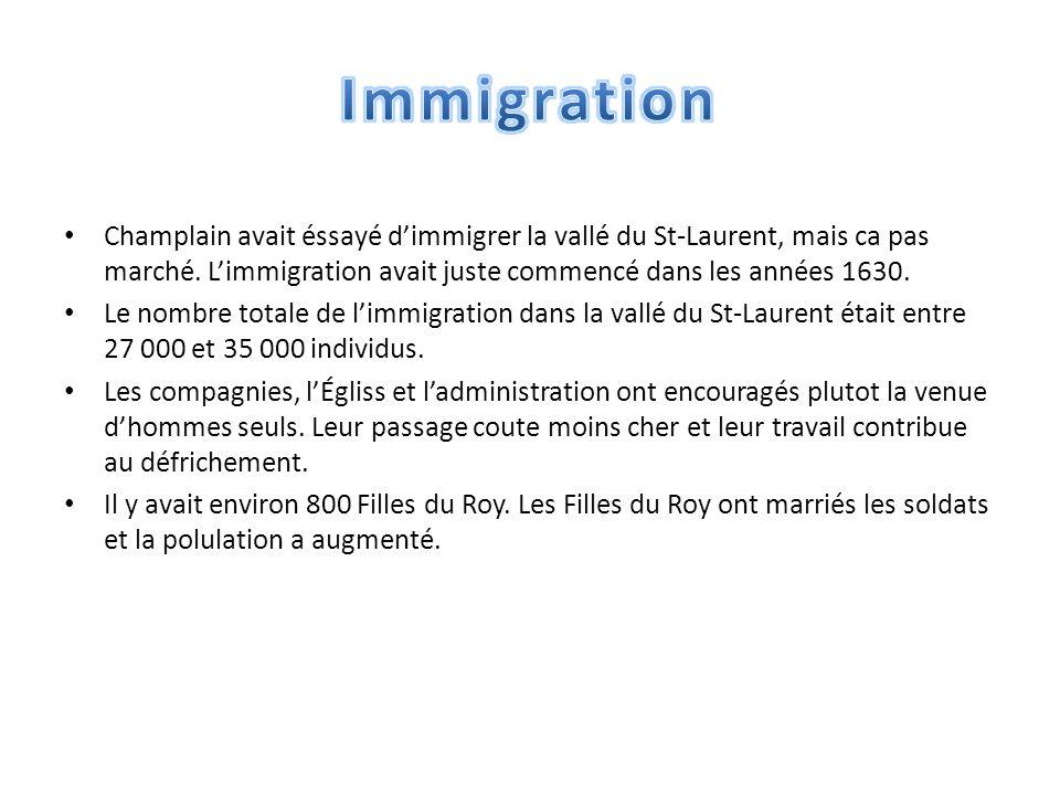 Champlain avait éssayé d'immigrer la vallé du St-Laurent, mais ca pas marché.