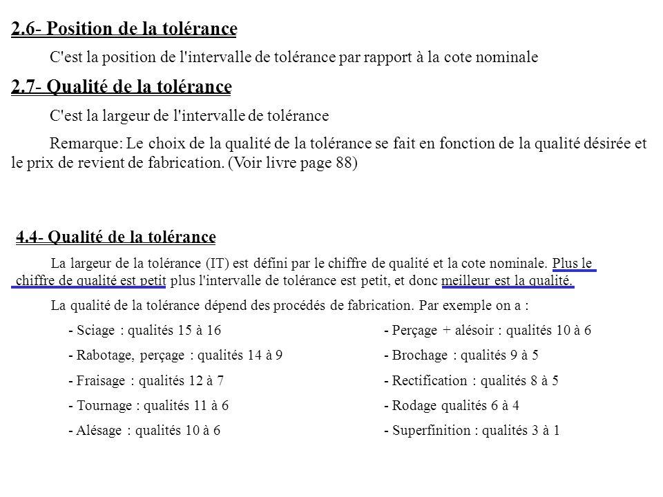 2.6- Position de la tolérance C est la position de l intervalle de tolérance par rapport à la cote nominale 2.7- Qualité de la tolérance C est la largeur de l intervalle de tolérance Remarque: Le choix de la qualité de la tolérance se fait en fonction de la qualité désirée et le prix de revient de fabrication.