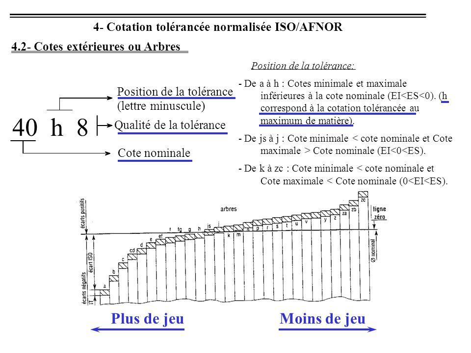 4- Cotation tolérancée normalisée ISO/AFNOR 4.2- Cotes extérieures ou Arbres 40 h 8 Cote nominale Qualité de la tolérance Position de la tolérance (lettre minuscule) Position de la tolérance: - De a à h : Cotes minimale et maximale inférieures à la cote nominale (EI<ES<0).