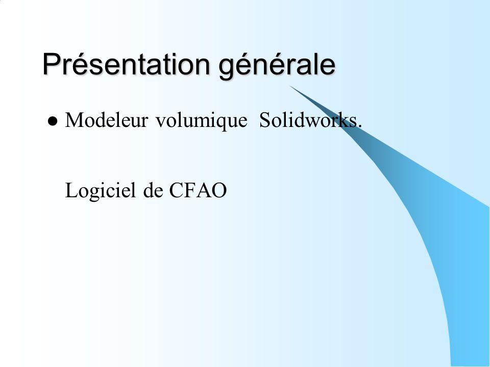 Présentation générale Modeleur volumique Solidworks. Logiciel de CFAO