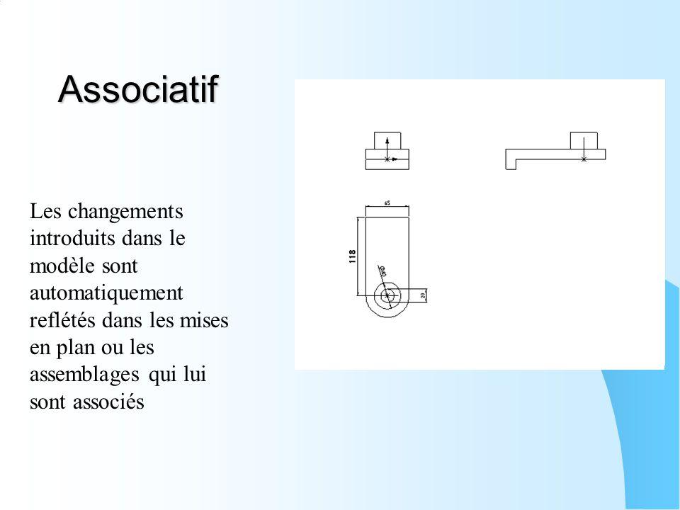 Associatif Les changements introduits dans le modèle sont automatiquement reflétés dans les mises en plan ou les assemblages qui lui sont associés