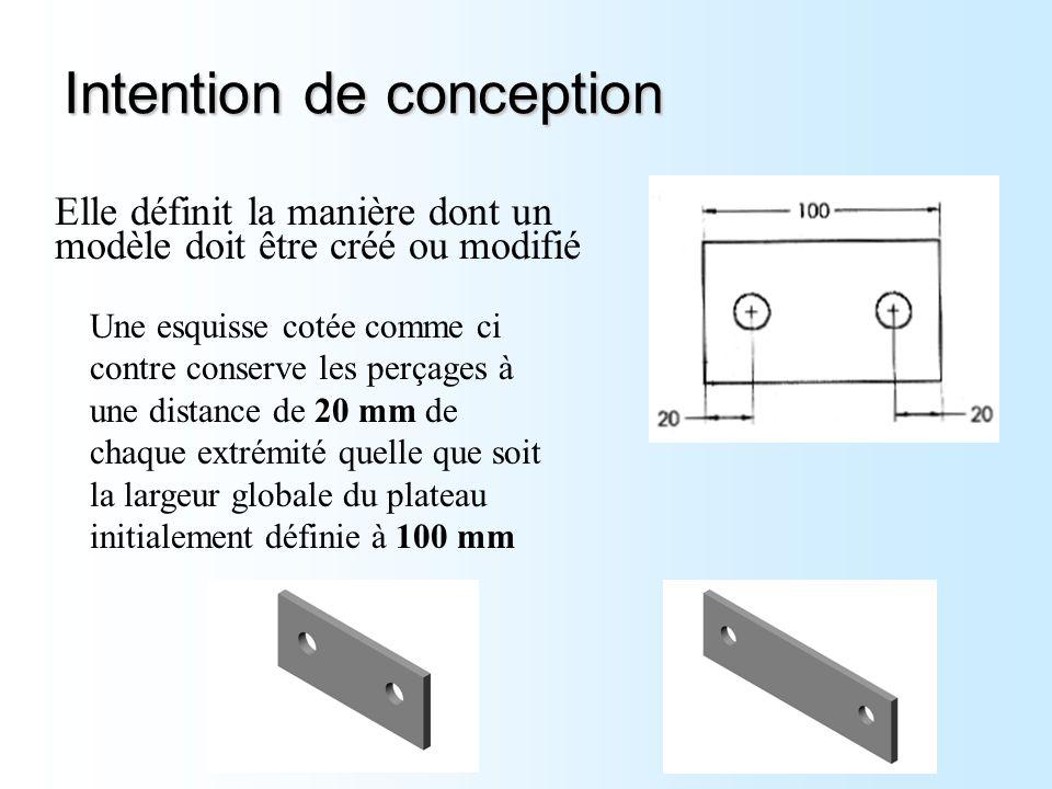 Intention de conception Elle définit la manière dont un modèle doit être créé ou modifié Une esquisse cotée comme ci contre conserve les perçages à un