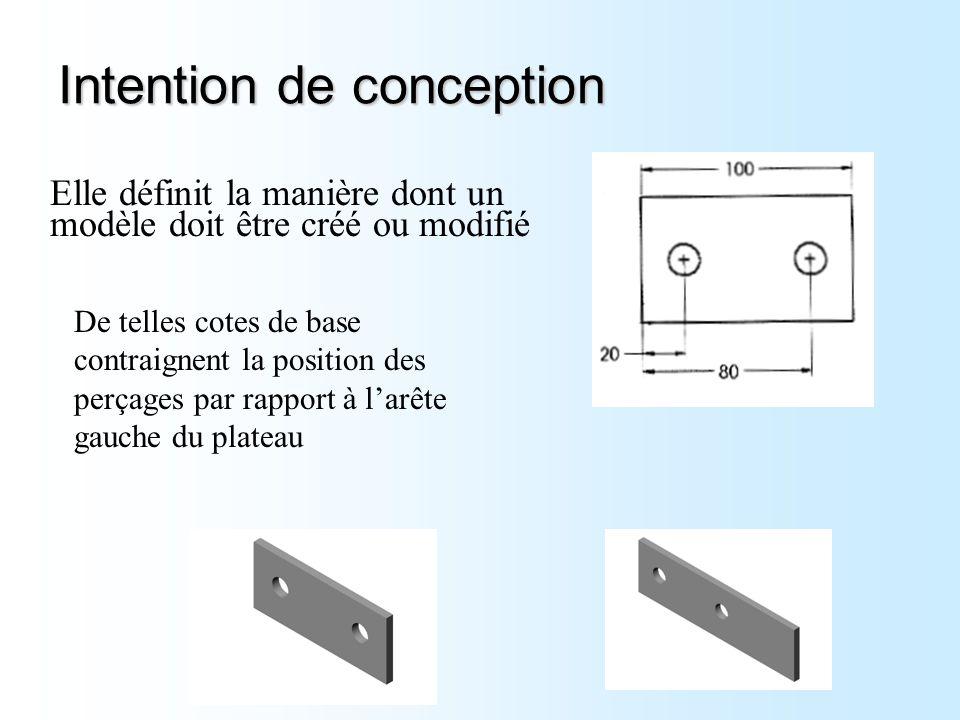 Intention de conception Elle définit la manière dont un modèle doit être créé ou modifié De telles cotes de base contraignent la position des perçages