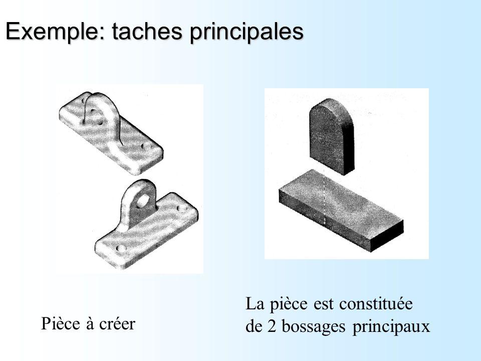 Exemple: taches principales La pièce est constituée de 2 bossages principaux Pièce à créer