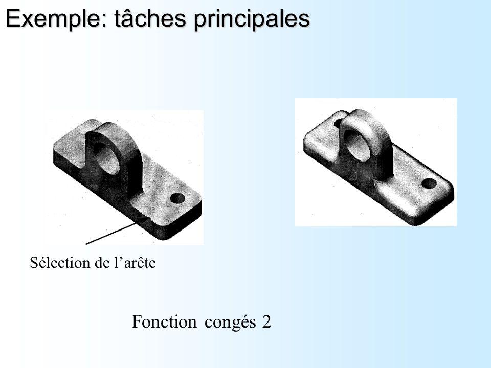 Sélection de l'arête Fonction congés 2 Exemple: tâches principales