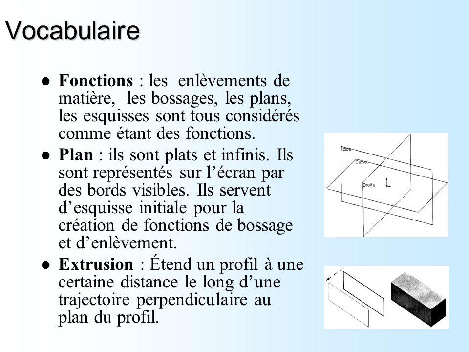 Vocabulaire Fonctions : les enlèvements de matière, les bossages, les plans, les esquisses sont tous considérés comme étant des fonctions. Plan : ils