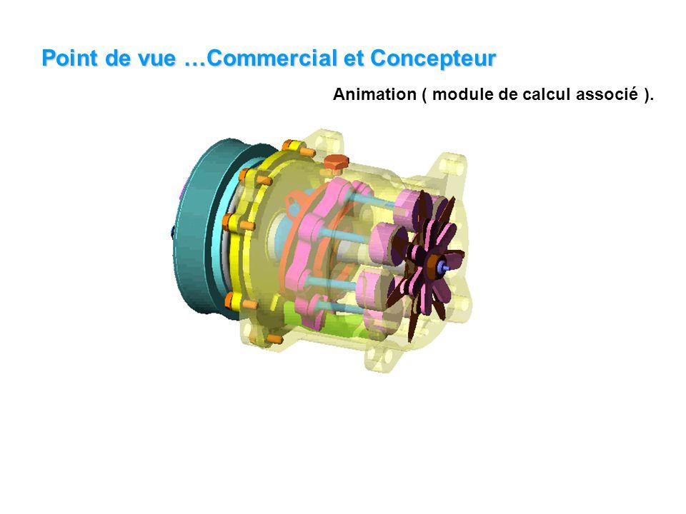 Point de vue …Commercial et Concepteur Animation ( module de calcul associé ).