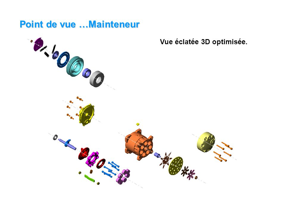 Point de vue …Mainteneur Vue éclatée 3D optimisée.
