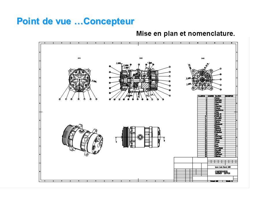 Point de vue …Concepteur Mise en plan et nomenclature.