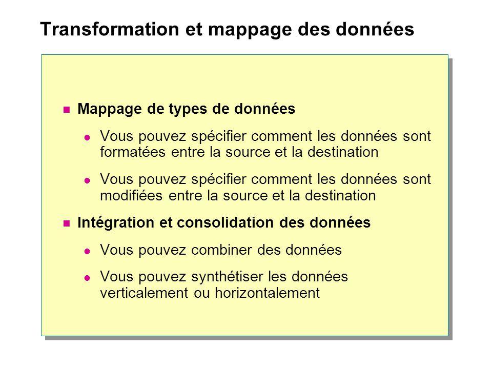 Transformation et mappage des données Mappage de types de données Vous pouvez spécifier comment les données sont formatées entre la source et la destination Vous pouvez spécifier comment les données sont modifiées entre la source et la destination Intégration et consolidation des données Vous pouvez combiner des données Vous pouvez synthétiser les données verticalement ou horizontalement