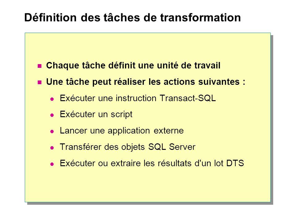 Définition des tâches de transformation Chaque tâche définit une unité de travail Une tâche peut réaliser les actions suivantes : Exécuter une instruction Transact-SQL Exécuter un script Lancer une application externe Transférer des objets SQL Server Exécuter ou extraire les résultats d un lot DTS
