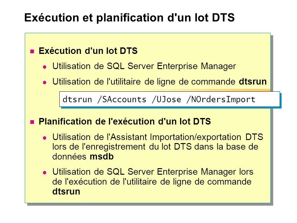 Exécution et planification d un lot DTS Exécution d un lot DTS Utilisation de SQL Server Enterprise Manager Utilisation de l utilitaire de ligne de commande dtsrun Planification de l exécution d un lot DTS Utilisation de l Assistant Importation/exportation DTS lors de l enregistrement du lot DTS dans la base de données msdb Utilisation de SQL Server Enterprise Manager lors de l exécution de l utilitaire de ligne de commande dtsrun dtsrun /SAccounts /UJose /NOrdersImport