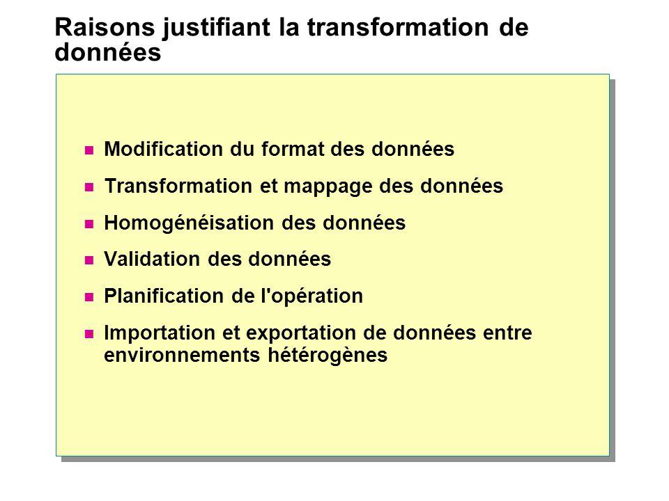 Raisons justifiant la transformation de données Modification du format des données Transformation et mappage des données Homogénéisation des données Validation des données Planification de l opération Importation et exportation de données entre environnements hétérogènes
