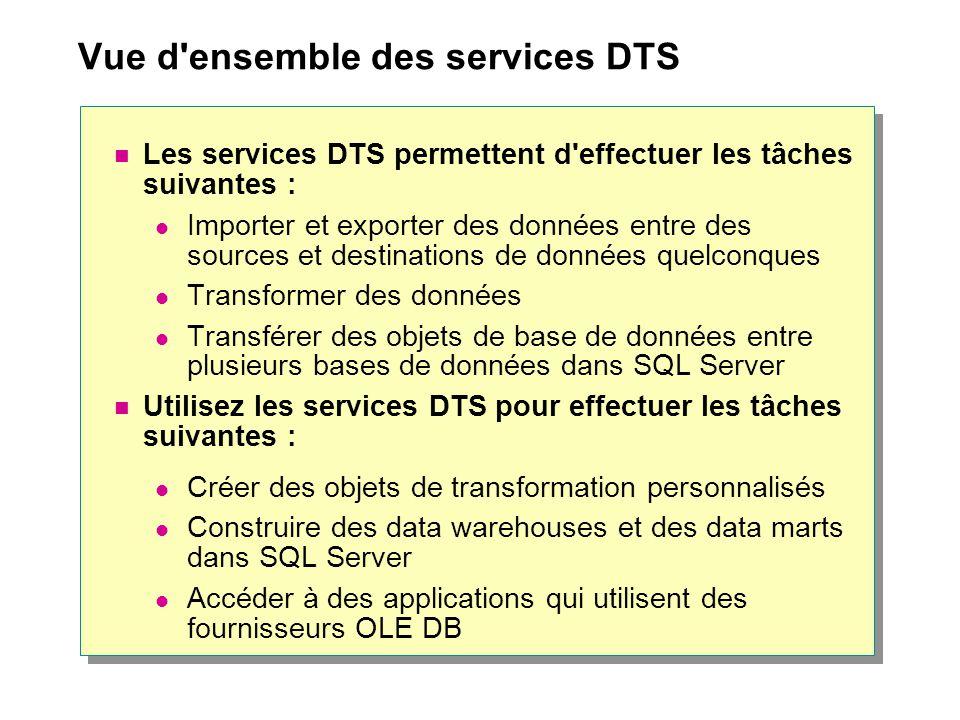 Vue d ensemble des services DTS Les services DTS permettent d effectuer les tâches suivantes : Importer et exporter des données entre des sources et destinations de données quelconques Transformer des données Transférer des objets de base de données entre plusieurs bases de données dans SQL Server Utilisez les services DTS pour effectuer les tâches suivantes : Créer des objets de transformation personnalisés Construire des data warehouses et des data marts dans SQL Server Accéder à des applications qui utilisent des fournisseurs OLE DB