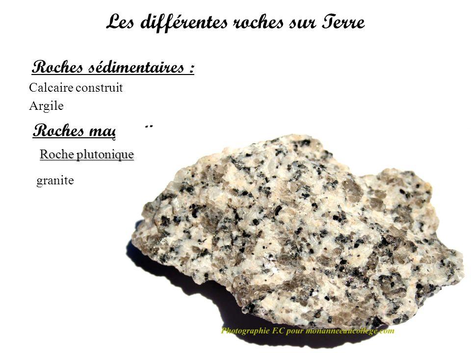 Les différentes roches sur Terre Roches sédimentaires : Calcaire construit Argile Roches magmatiques : Roche plutonique Roche volcanique basalte