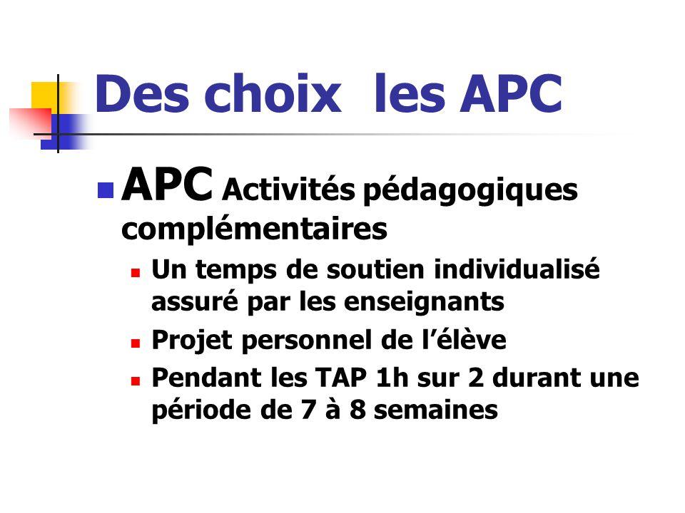 Des choix les APC APC Activités pédagogiques complémentaires Un temps de soutien individualisé assuré par les enseignants Projet personnel de l'élève Pendant les TAP 1h sur 2 durant une période de 7 à 8 semaines