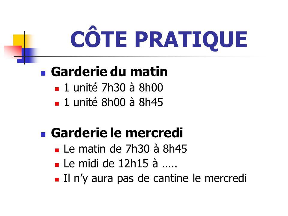 CÔTE PRATIQUE Garderie du matin 1 unité 7h30 à 8h00 1 unité 8h00 à 8h45 Garderie le mercredi Le matin de 7h30 à 8h45 Le midi de 12h15 à …..
