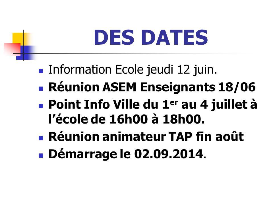 DES DATES Information Ecole jeudi 12 juin.