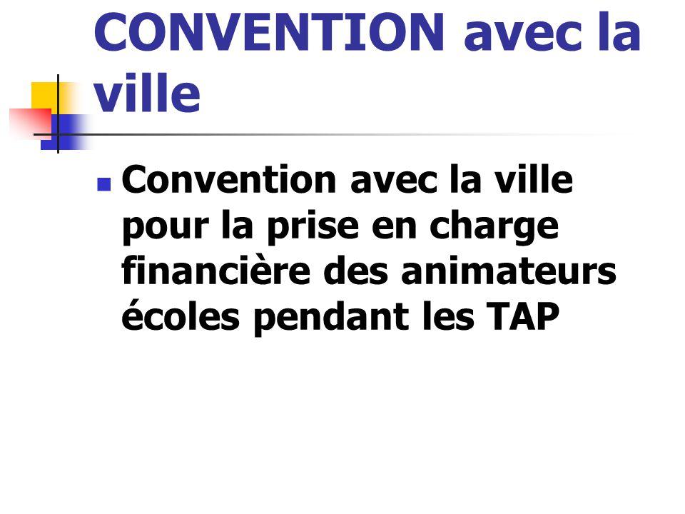 CONVENTION avec la ville Convention avec la ville pour la prise en charge financière des animateurs écoles pendant les TAP
