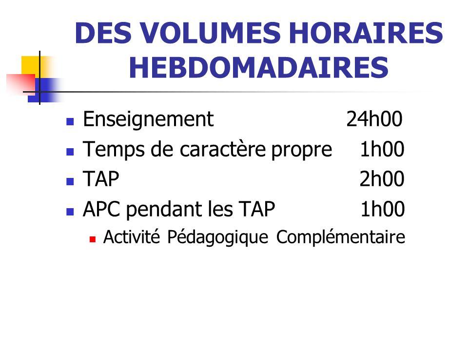 DES VOLUMES HORAIRES HEBDOMADAIRES Enseignement 24h00 Temps de caractère propre 1h00 TAP 2h00 APC pendant les TAP 1h00 Activité Pédagogique Complémentaire
