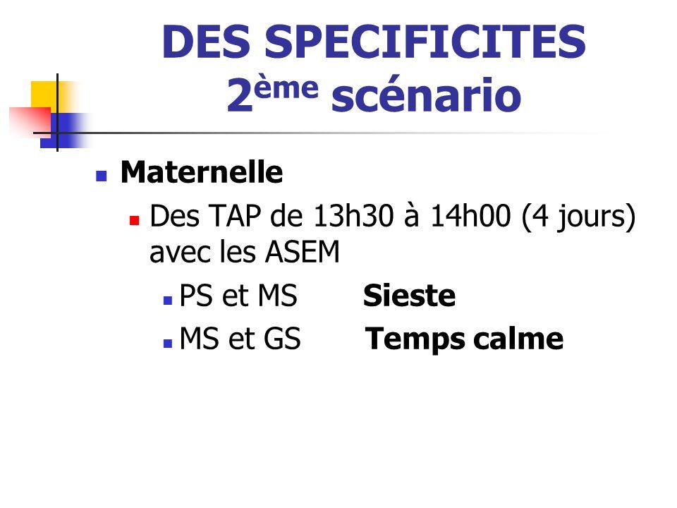 DES SPECIFICITES 2 ème scénario Maternelle Des TAP de 13h30 à 14h00 (4 jours) avec les ASEM PS et MS Sieste MS et GSTemps calme