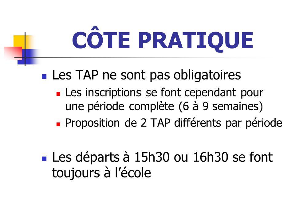 CÔTE PRATIQUE Les TAP ne sont pas obligatoires Les inscriptions se font cependant pour une période complète (6 à 9 semaines) Proposition de 2 TAP différents par période Les départs à 15h30 ou 16h30 se font toujours à l'école
