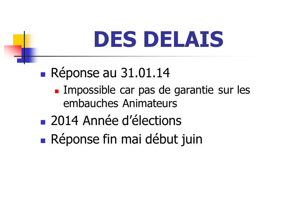 DES DELAIS Réponse au 31.01.14 Impossible car pas de garantie sur les embauches Animateurs 2014 Année d'élections Réponse fin mai début juin