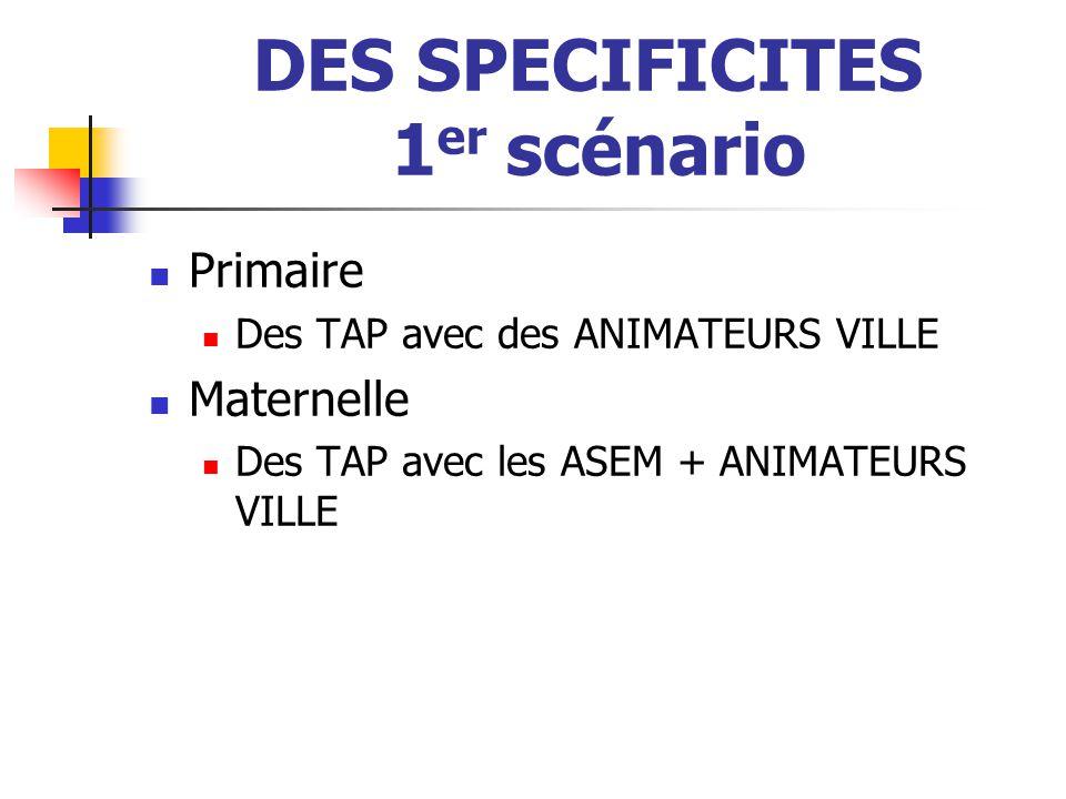 DES SPECIFICITES 1 er scénario Primaire Des TAP avec des ANIMATEURS VILLE Maternelle Des TAP avec les ASEM + ANIMATEURS VILLE