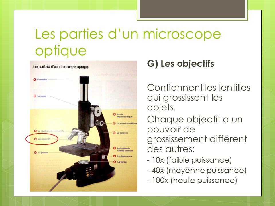 Les parties d'un microscope optique H) La platine Soutient la lame.