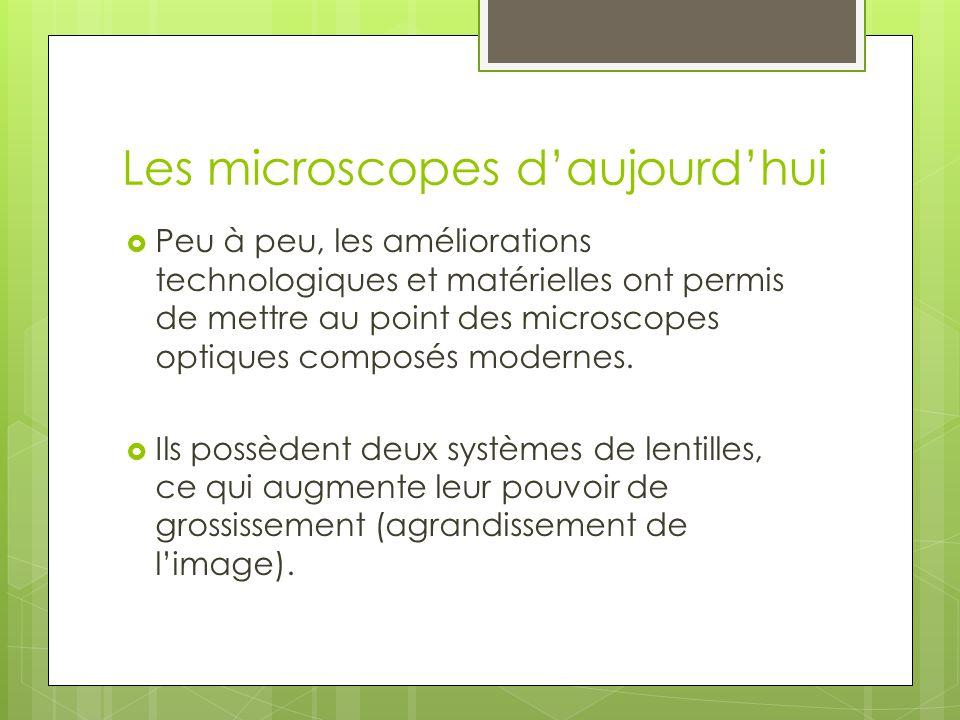 Les microscopes optiques  Les meilleurs microscopes optiques peuvent grossir l'image des objets 2000 fois (2000x).