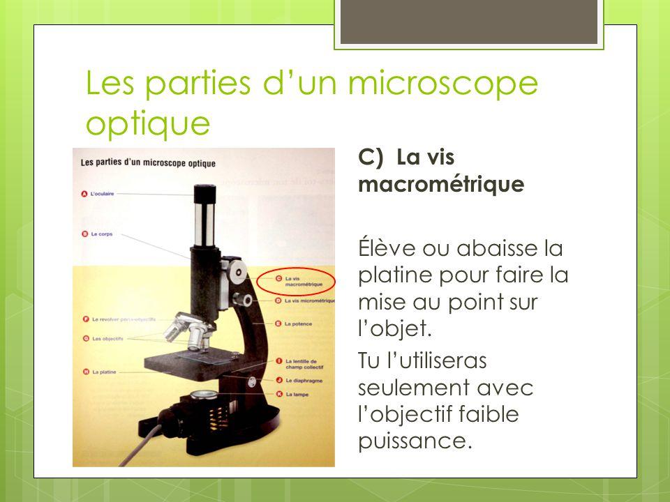 Les parties d'un microscope optique D) La vis micrométrique Permet le réglage précis de l'objectif moyenne ou haute puissance.