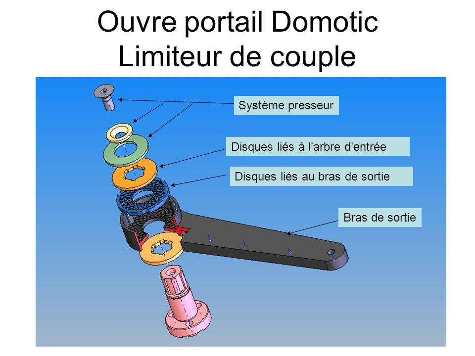 Ouvre portail Domotic Limiteur de couple Système presseur Disques liés à l'arbre d'entrée Disques liés au bras de sortie Bras de sortie