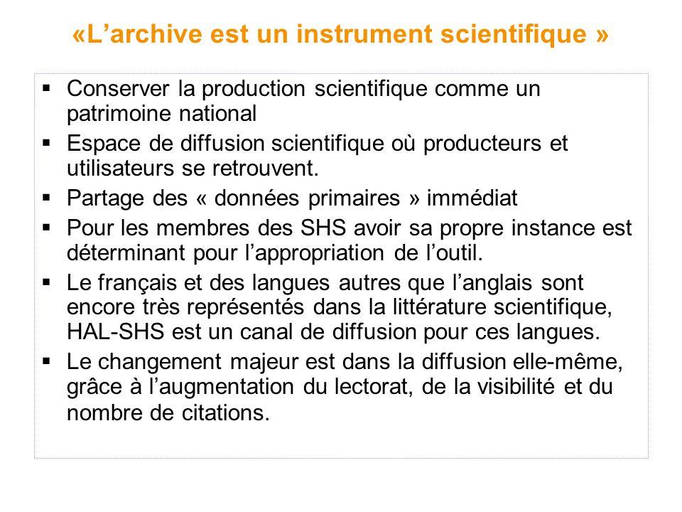 «L'archive est un instrument scientifique »  Conserver la production scientifique comme un patrimoine national  Espace de diffusion scientifique où producteurs et utilisateurs se retrouvent.