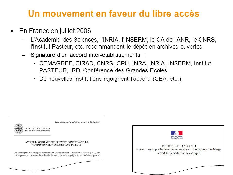 Un mouvement en faveur du libre accès  En France en juillet 2006 –L'Académie des Sciences, l'INRIA, l'INSERM, le CA de l'ANR, le CNRS, l'Institut Pasteur, etc.