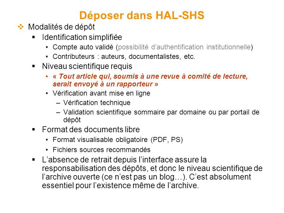 Déposer dans HAL-SHS  Modalités de dépôt  Identification simplifiée Compte auto validé (possibilité d'authentification institutionnelle) Contributeurs : auteurs, documentalistes, etc.